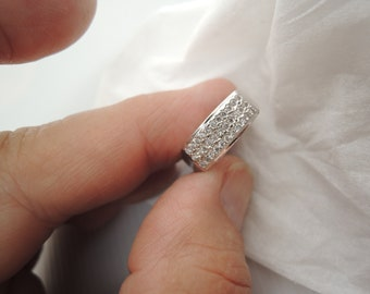 Anniversary or Right Hand Ladies or Gents Silver ring with Swarovski style Brilliant cut New Generation Crystal gems