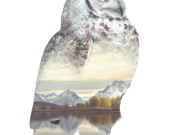 Owl Animal Double Exposure Art Print - Faunascapes by WhatWeDo