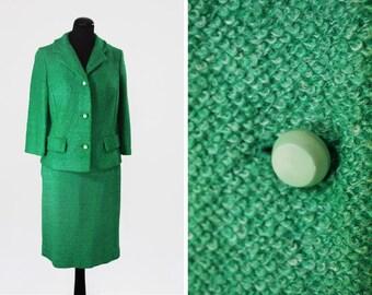 1960s Green Bouclé Skirt Suit