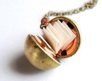 Secret Message Necklace, Golden Ball Locket, Antique Brass Locket, Personalized Necklace