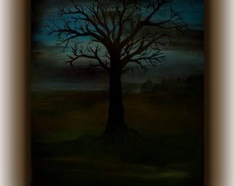 Dark Tree, acrylic painting on canvas