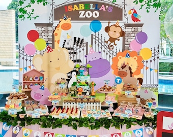 DIGITAL FILE Zoo Party Backdrop Decor, Zoo Birthday Banner Backdrop, Zoo Theme, 84x72 inches, 60x50 inches