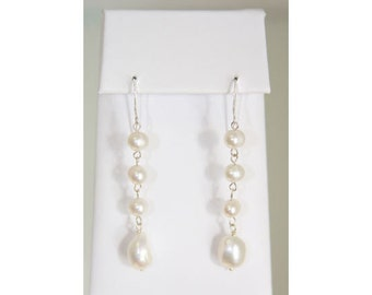 Three Pearl Link Dangle Earrings SUPER SALE