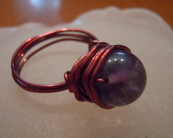 Purple Majesty - Amethyst and Bronze Crystal Ball Ring