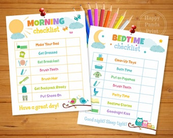MORNING AND BEDTIME Checklist Printable Morning Routine Checklist Bedtime Routine Checklist Morning Chart Bedtime Chart Kids Chart To Do