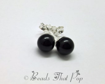Black Onyx Gemstone Earrings, Black Stud Earrings, Onyx Earrings, Handmade, Great gift for all ages and occasions, Genuine Gemstone!
