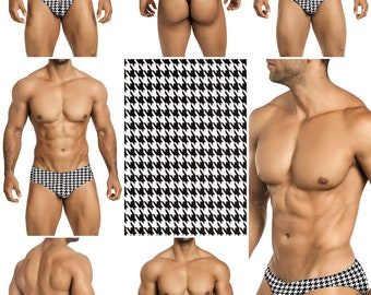 Black Houndstooth on White Swimsuits for Men by Vuthy Sim.  Choose Thong, Bikini, Brief, Squarecut - 196