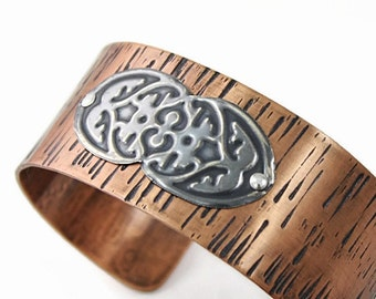 Copper Cuff Bracelet,Oxidized Silver Accent, Riveted, Handmade, Textured Metal