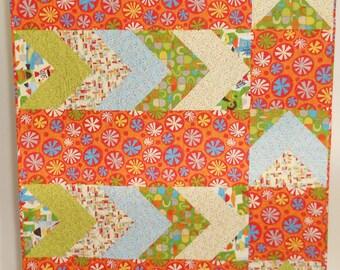 Modern Sofa Quilt / Modern Throw Quilt / Lap Quilt / Handmade Quilt / Modern Orange Quilt