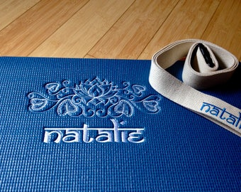 Custom Embroidered Personalized Yoga Mat With Lotus Design/Personalized Yoga Mat/Embroidered yoga mat