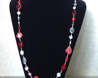Long Red and White Necklace