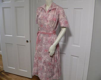 1940's Cotton Print Wrap Housedress by  Loungees / 40s Housecoat / Lounge Dress