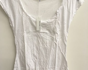 James Perse NWT White short cap sleeve t shirt w/rouched scoop neckline - Size 2 / Small S