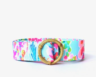 NEW-Lilly Pulitzer Fabric Belt, Catch The Wave Fabric Belt