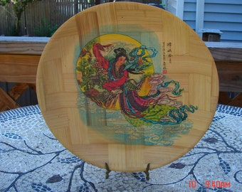 Vintage 12'' Decorative Chinese Bamboo Display Plate - Made in Taiwan Republic of China