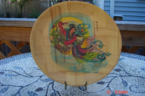 & Vintage 12\u0027\u0027 Decorative Chinese Bamboo Display Plate