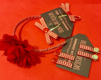 Gingham hair accessories set back to school; aliceband and clips