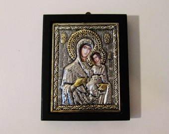 Vintage Wooden Greek Religious Icon Of Virgin Mary Holding Jesus Christ - Very Ornate Wall Plaque - Great Character - Ready To Hang On Wall