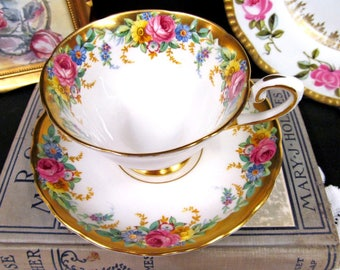 Tuscan Tea Cup and Saucer Garland Teacup Set Roses Cup & Saucer Thick Gold