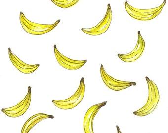 Cool Bananas Watercolour Painting Glicee Print - A5
