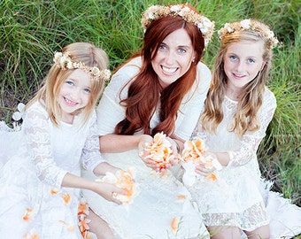 Mother daughter dried flower crowns set of 2 silk blush peach  preserved natural babys breath photo prop bridal Accessories family portraits