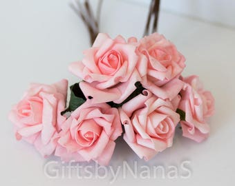 6pc Blush pink roses, foam silk flowers, valentine's day roses, pink silk flowers bulk, cheap real touch flowers, artificial flowers