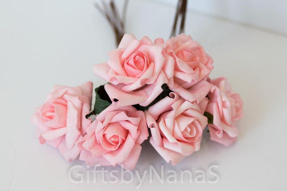 6pc blush pink roses foam silk flowers valentines day roses pink 6pc blush pink roses foam silk flowers valentines day roses pink silk flowers bulk cheap real touch flowers artificial flowers from giftsbynanas on mightylinksfo