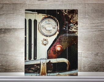 IN STOCK: Jeep Sign on Wood Planks 16x20 Old Jeep Willys on Wood Gift for Men Rustic Industrial Office Decor Jeep Gifts Wooden Jeep Sign.