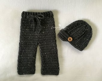 Baby Boy Outfit Baby Girl Outfit Newsboy Hat and Pants Crochet Coming Home Outfit Baby Clothes Newborn Infant Toddler Grey Black Photo Prop