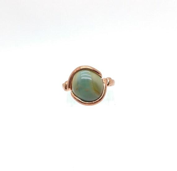 Blue Stone Ring | Imperial Jasper Ring | Copper Stone Ring Sz 8 | Rustic Stone Ring | Green Stone Ring | Copper Jasper Ring