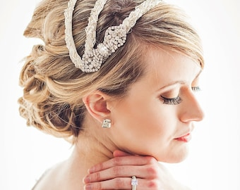 Beaded Vintage Inspired Bridal Headpiece Juliet Cap