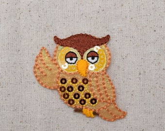 Whimsy - Sequin - Golden Owl - Iron on Applique - Embroidered Patch - 156305A