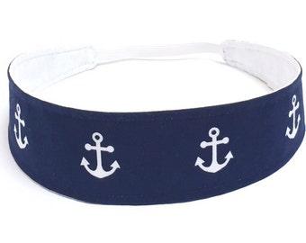 Little Girls Headbands, Toddler Headband, Kids Headbands, Baby Headband  - Blue & White, Nautical Headband -  NAVY WHITE ANCHORS