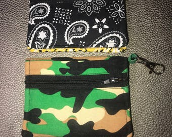Compact Card Wallet ~ Camo or Bandana