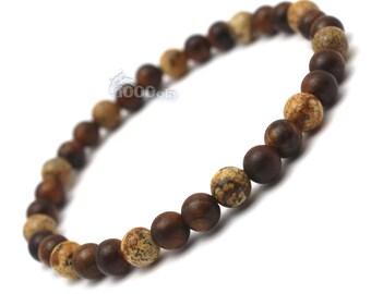 Male/female surfer/surf style bracelet beads natural Huanghuali wood Brown Ø6mm, natural stone beige Picasso Jasper P85