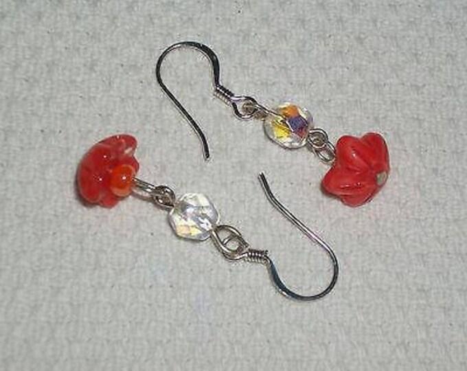 Hippie Chic Handmade Orange Flower Glass Bead Stainless Steel Drop Dangle Earrings