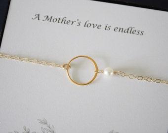 3 Gold Karma Mother Bracelet, Mom Gift, Infinity Bracelet, Mother of the Groom, Mil, Mob, Thank You Card, White Pearl, Gold Bracelet, Mom