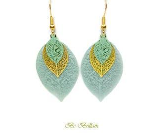 Leaf earrings, filigree fine print, monochrome Golden