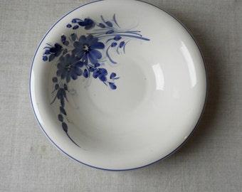 Antique ceramic blue floral hand painted glazed ceramic bowl