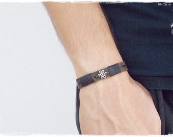 Men's Leather Bracelet, Celtic Leather Bracelet, Men's Celtic Bracelet, Men's Infinity Bracelet, 3rd Anniversary Bracelet, Viking Bracelet