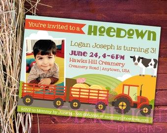 Personalized Hoedown/Farm Themed Birthday Card - Printable PDF