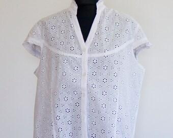 White blouse adlib / hippie blouse / white shirt / retro blouse / blouse oversize / ibizenca blouse / boho chic