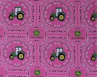 Farm Fabric: John Deere Bandana Tractor Tractors Pink Flowers  100% cotton Fabric by the yard (SC1108)