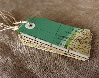 Six double VINTAGE map luggage tags / gift tags