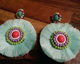Big tassel earrings aquamarine tassels