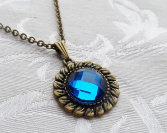 75% Off Sale Royal Blue Faceted Glass Necklace