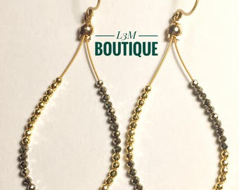 Microfaceted Golden Pyrite and Gold Bead Earrings