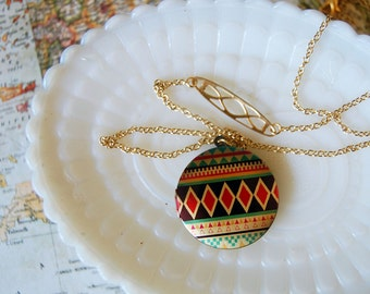 Geometric tribal pattern locket- vintage brass detail- gold plated chain