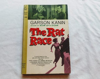 "Vintage 60's Movie Paperback, ""The Rat Race"" by Garson Kanin, based on the film starring Tony Curtis and Debbie Reynolds, 1960."