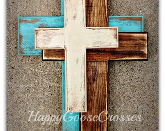 Wall CROSS - Wood Cross - Medium - *NEW* OFFSET Crosses in Antiqued Turquoise, Stain, and Beige (or any colors of your choice)